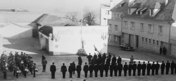 1959 – Cérémonie des couleurs des Pompiers